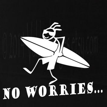 No worries surfer guy stick figure car decal, laptop decal, vinyl decal, sticker