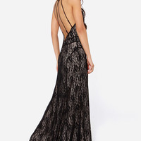 Black Spaghetti Strap Backless Lace Maxi Dress - Sheinside.com