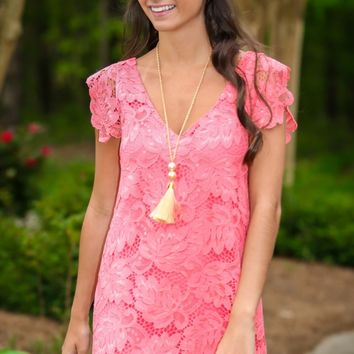 BB Dakota Jacqueline Coral Lace Dress