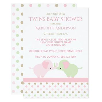 Twin Baby Elephants Baby Shower Invitations