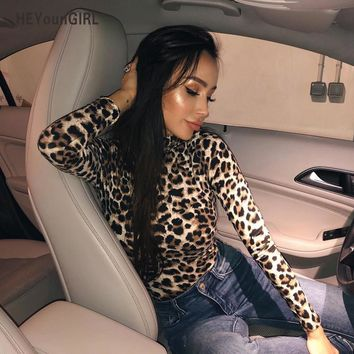 HEYounGIRL Leopard Bodysuit for Women Sexy Bodycon Skinny Body Suit Turtleneck Long Sleeve Playsuit Printed Romper Jumpsuits