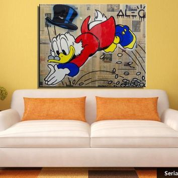Alec monopoly Still life Abstract oil Painting Drawing art Spray Unframed Canvas iron miniature wine children figure27116554