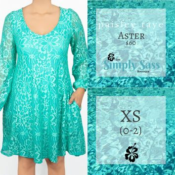 Aster Popover Dress - Teal Lace (XS)