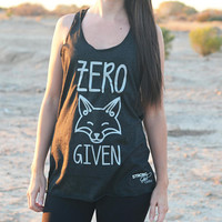 ECO Zero Fox Given Tank Top. Cute Fox Tank. Graphic Tee. Womens Graphic Tank Top. Workout Tank. Flowy Gym Tank. Cute clever tank top gift.