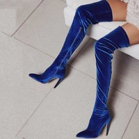High Heel Suede Pointed Toe Over Knee Boots