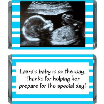 18 Add Your Sonogram Baby Shower Miniature Chocolate Bar Wrappers Blue