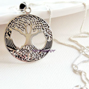 Large Tree of Life Sterling Silver Tree Necklace Large Tree Pendant Celtic Tree Knot  Pendant Filigree Round Pendant