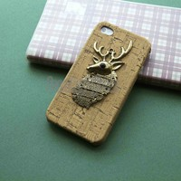 Bronze deer iPhone Case fits for iPhone 4 Case, iPhone 4s Case, iPhone 4 Hard Case, iPhone wood Case