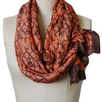 Handmade and Naturally Dyed Cosmic Print Silk Scarf in Spice