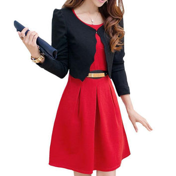 2017 Women Business Uniforms Suits Long-Sleeve Jackets Dress Two Piece Conjunto De Blazer Vestido Feminino Black Business Dress
