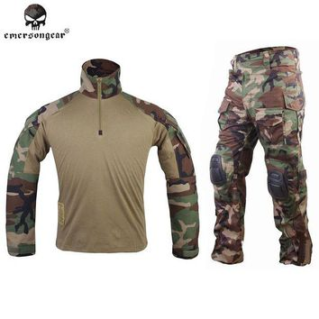 DCCK7N3 Emersongear G3 Combat uniform shirt Pants with knee pads Army Airsoft Tactical Emerson Military Camouflage Woodland Jungle