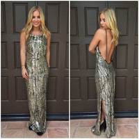 Gold & Silver Low Back Sequin Maxi Dress