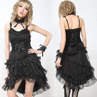 Sexy Black Spaghetti High Low Semi Formal Burlesque Cocktail Dress SKU-11402284