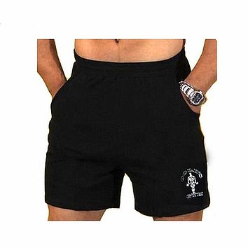 "Mens Gyms Shorts With Pockets Bodybuilding Clothing Male Golds Athlete Fitness Bermuda Weight Lifting Workout Cotton 5"" Inseam"
