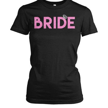 Womens Bride Entourage Pink Glitter Gifts, Women Tops, Bridal Party Shirts