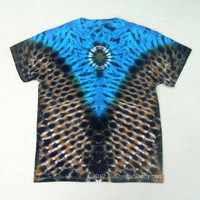 Tie Dye Shirt- Large Blue, Tan, and Black V Shirt