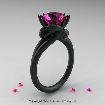 Modern Dragon 14K Matte Black Gold 3.0 Ct Pink Sapphire Engagement Ring R601-14KMBPS