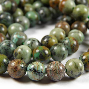 7-1/2 Inch Strand - 8mm Round Natural African Turquoise Beads - Gemstone Beads - Jewelry Supplies