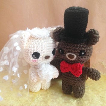 Wedding Amigurumi Bear Bride and Groom Crochet Bear Stuffed Animal Stuffed Toy Bear Kids Toy Gift Ideas Kawaii Bear Plush Wedding Gift Idea
