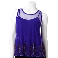 Jennifer Lopez Embellished Mesh Top