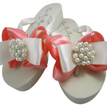 Coral Satin Bow Pearl & Rhinestone Embellished Wedding Wedge Flip Flops - Ivory or White