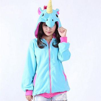 Autumn New Women Clothing Casual Cute V-Neck Unicorn Zip- Up Pullovers Full Sleeves Fleeces Women Clothe
