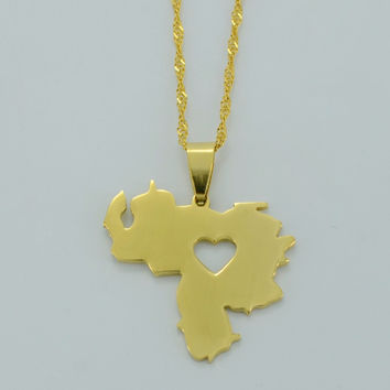 Anniyo Venezuela Map Pendant Necklace for Women Gold Color Jewelry Maps of Venezuela Items #005705