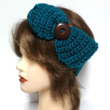 Women's  turquoise crochet large bow large brown button accent headband, ear warmer, turquoise crochet bow button headband, gift