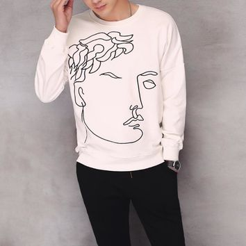 Abstract Embroidery Men Hoodies Tops Jacket [6528748163]