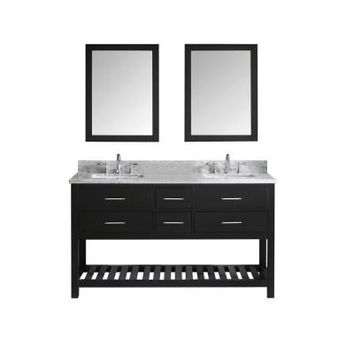 Virtu USA Caroline Estate 60.8 in. Double Vanity in Espresso with Marble Vanity Top in Italian Carrara White and Mirror-MD-2260-WMSQ-ES - The Home Depot