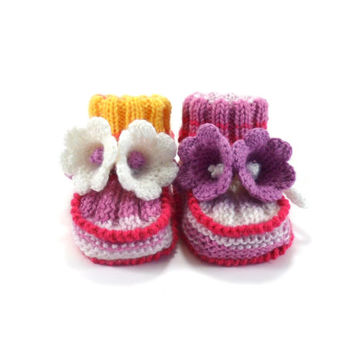 Hand Knitted Baby Booties with Crochet Bell Flowers - Pink and White, 3 - 6 months