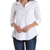 Long Sleeve Button-Up Shirt by Charlotte Russe