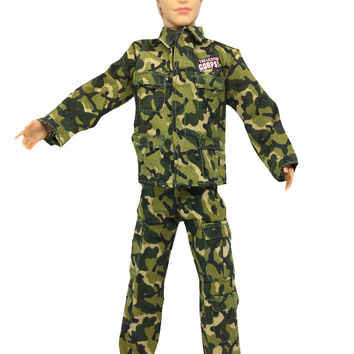 NK Original Doll Prince Clothes Army Combat Uniform Outfit For Barbie Boy Male Ken Doll For Lanard 1 6 Soldier Best Gift 001A