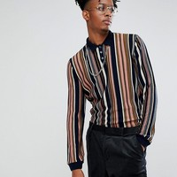 ASOS Vertical Stripe Polo In Navy at asos.com