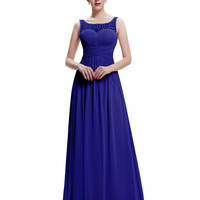 2017 Designer Elegant Long Evening Dress Royal Blue See Through Neckline V Back Chiffon Formal Evening Dresses Party Gown 0061