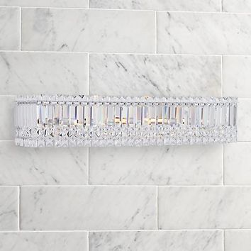 "Possini Euro Crystal Columns 30"" Wide Chrome Bath Light - #4R261 