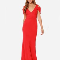 Posh Girl Red Open Shoulder Gown