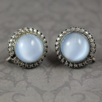Vintage Danecraft Sterling Silver Pale Blue Faux Moonstone Filigree Screw Back Earrings