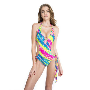 Palm Print Fringe One-piece Swimsuit