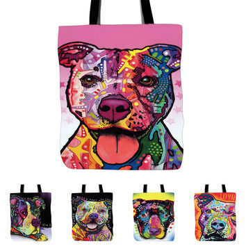 Cut Dog and Cat Printed Canvas Tote Female Casual Beach Bags Large Capacity Women Single Shopping Bag Daily Use Canvas Handbags