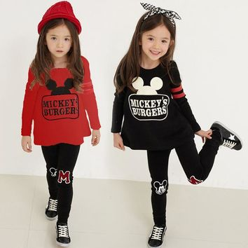HOT! 2018 baby girls clothing sets cartoon minnie mouse winter children's wear cotton casual tracksuits kids clothes sports suit