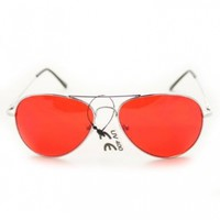 Aviator Fashion Sunglasses 30011c Silver Frame Red Lens for Men and Women
