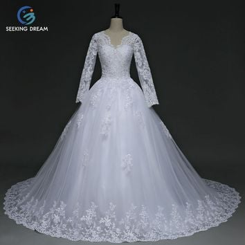 [Clearance Stock] 2017 White/Pink High-Neck Long Sleeves Muslim Train Lace Wedding Dress Elegant Luxury Bride Ball Gown Dresses