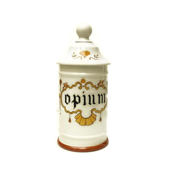 Porcelain Opium Apothecary Jar. Hand Painted Limoges Porcelain Apothecary Jar.