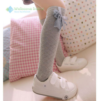 Cute Children's Knee High Socks for Toddlers Kids Girls Solid Bow-knot Cotton Princess Dress Ballet Sock leg warmer brand new
