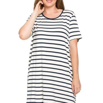 All About Stripes Dress Plus Size Navy