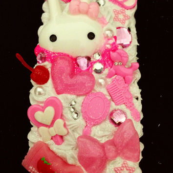 Decoden case Iphone 5 handmade whipped cream case kawaii white pink bunny cute case