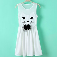 Gauze dress stitching cute cat JCIC