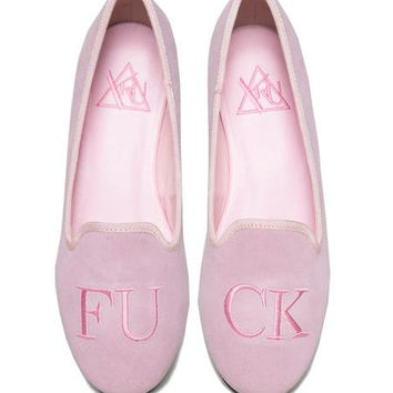 Fuck Suede Flats in Pink