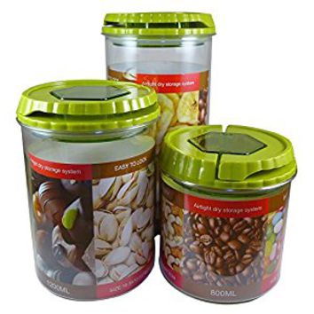 Kitchen Canisters (Set of 3, Apple Green) Decorative Food Storage Jars for Counter or Pantry - Colorful Lids Make Airtight Containers for Coffee, Tea, Sugar or Flour - BPA Free